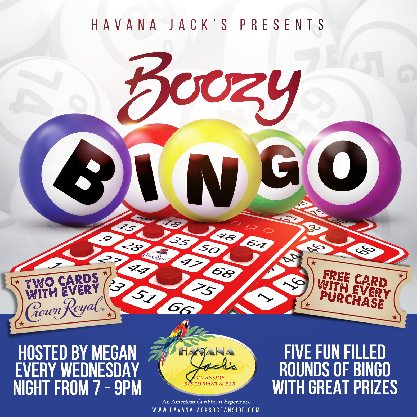 Boozy Bingo at Havana Jacks every Wednesday 7pm-9pm